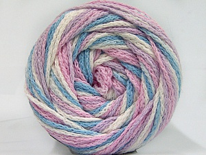 Fiber Content 50% Acrylic, 50% Polyamide, White, Light Pink, Light Lilac, Light Blue, Brand ICE, fnt2-59357