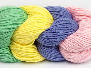 Fiber Content 50% Acrylic, 50% Cotton, Yellow, Pink, Mint Green, Lilac, Brand ICE, Yarn Thickness 3 Light  DK, Light, Worsted, fnt2-60262