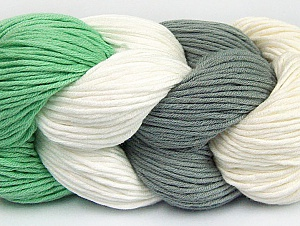 You will love the cotton & acrylic blend of Iceyarns Art color cotton. Art color cotton is a DK weight yarn in delightful 4 color combinations.<br>Each 100 gram hank is made up of 4 individual small hanks .Each small hank is 25 gr / 57 yds. You can simply separate small hanks.<br>Each color is separate. In this way,  you can start from the color you want and create your color combinations. Fiber Content 50% Acrylic, 50% Cotton, White, Mint Green, Brand ICE, Grey, Cream, fnt2-60457