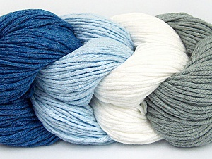 You will love the cotton & acrylic blend of Iceyarns Art color cotton. Art color cotton is a DK weight yarn in delightful 4 color combinations.<br>Each 100 gram hank is made up of 4 individual small hanks .Each small hank is 25 gr / 57 yds. You can simply separate small hanks.<br>Each color is separate. In this way,  you can start from the color you want and create your color combinations. Fiber Content 50% Acrylic, 50% Cotton, White, Light Blue, Brand ICE, Grey, Blue, fnt2-60458